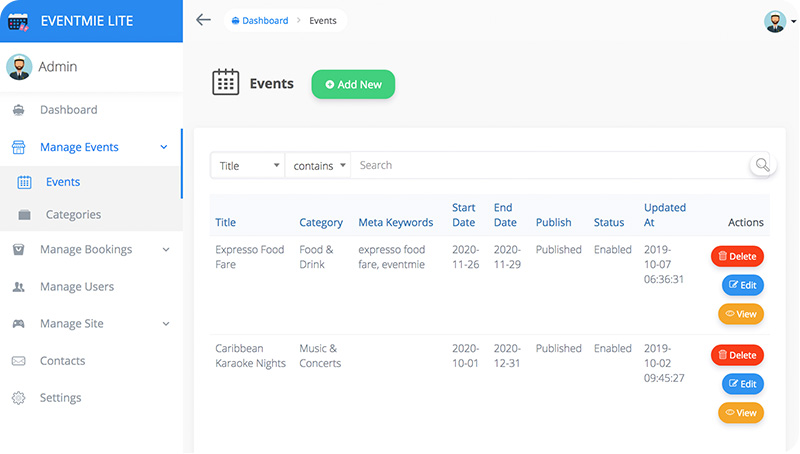 Admin Panel - Manage Events
